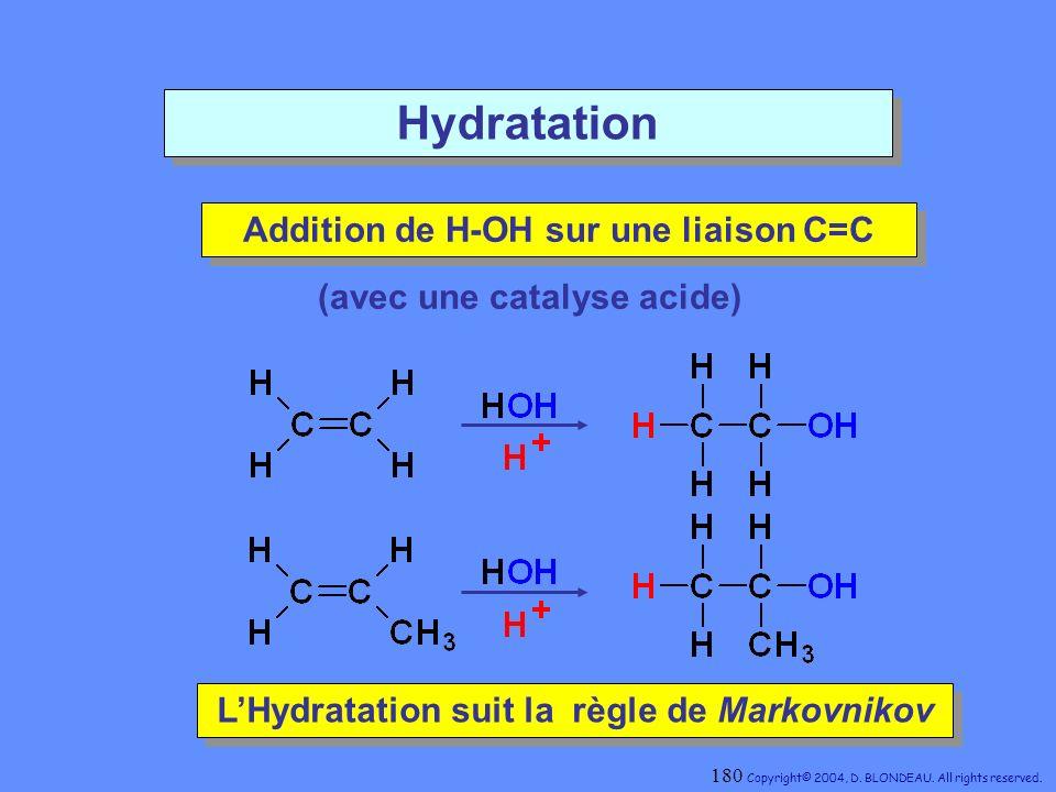 Hydratation Addition de H-OH sur une liaison C=C