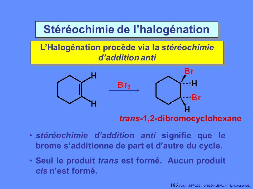 Stéréochimie de l'halogénation