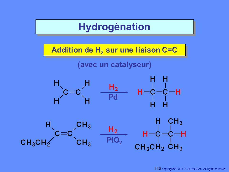 Addition de H2 sur une liaison C=C