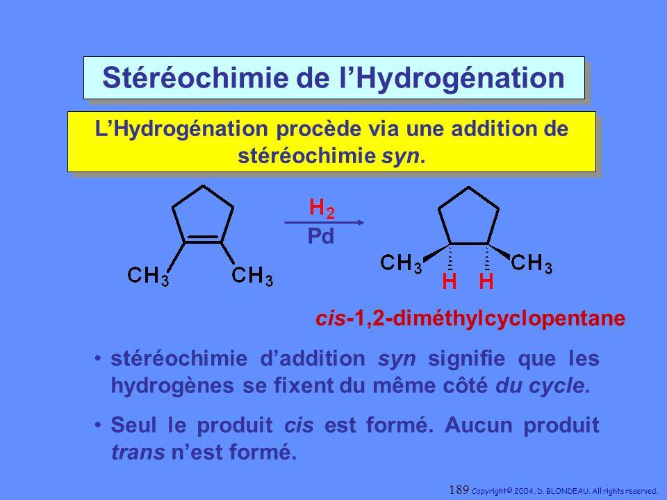 Stéréochimie de l'Hydrogénation