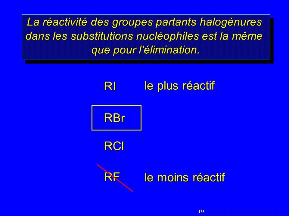 RI le plus réactif RBr RCl RF le moins réactif