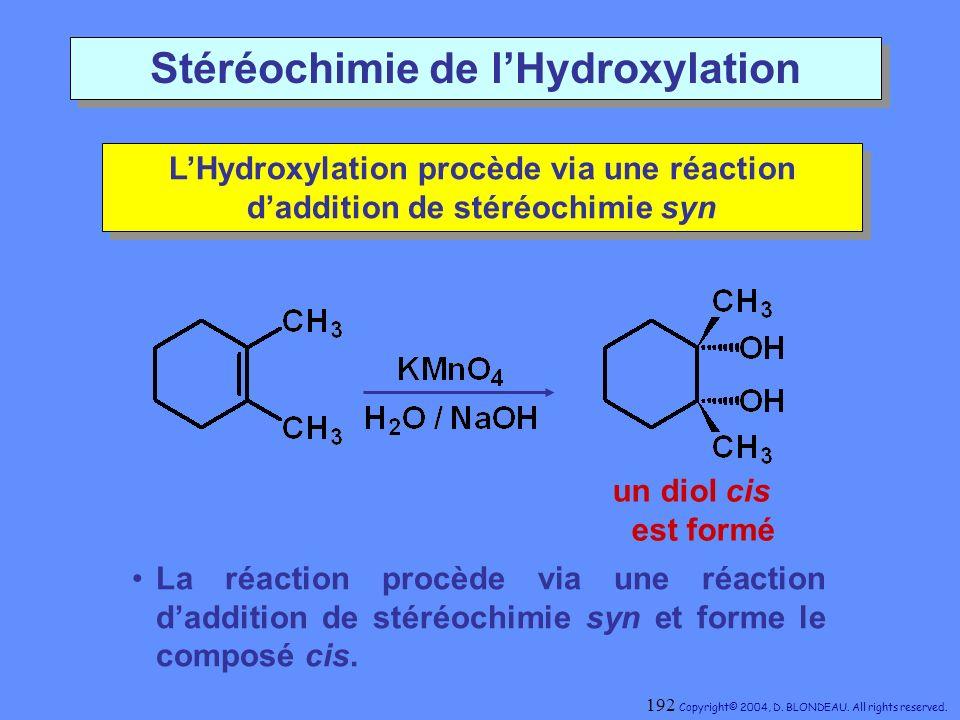 Stéréochimie de l'Hydroxylation
