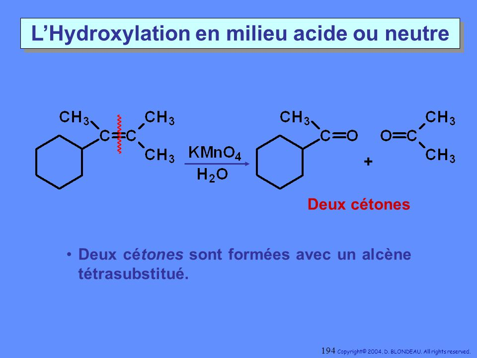 L'Hydroxylation en milieu acide ou neutre