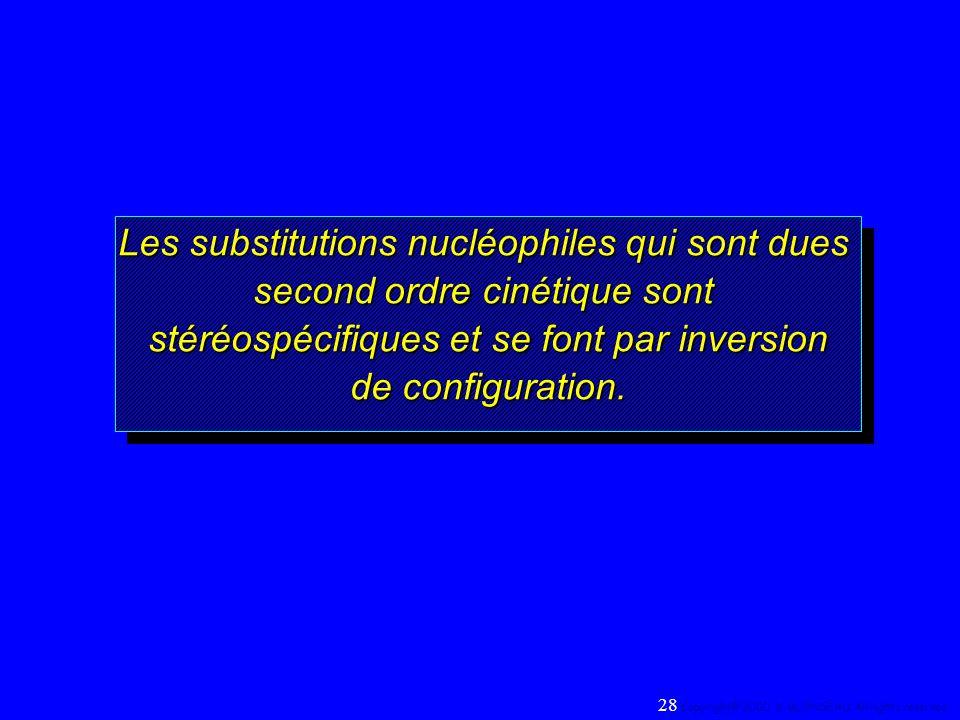 Les substitutions nucléophiles qui sont dues