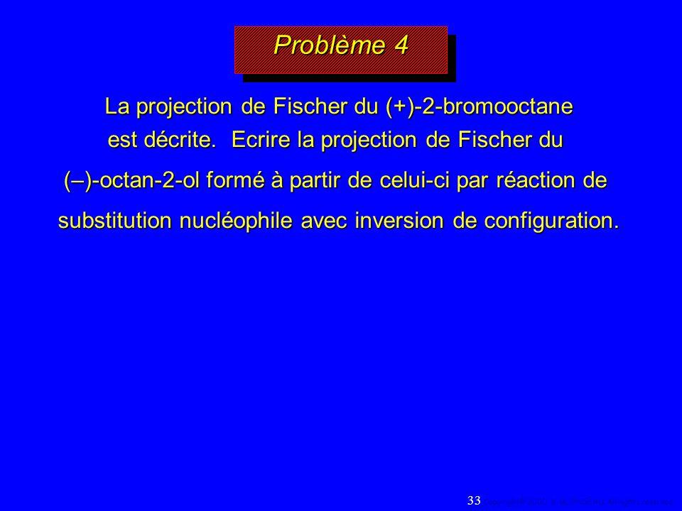Problème 4 La projection de Fischer du (+)-2-bromooctane est décrite. Ecrire la projection de Fischer du.