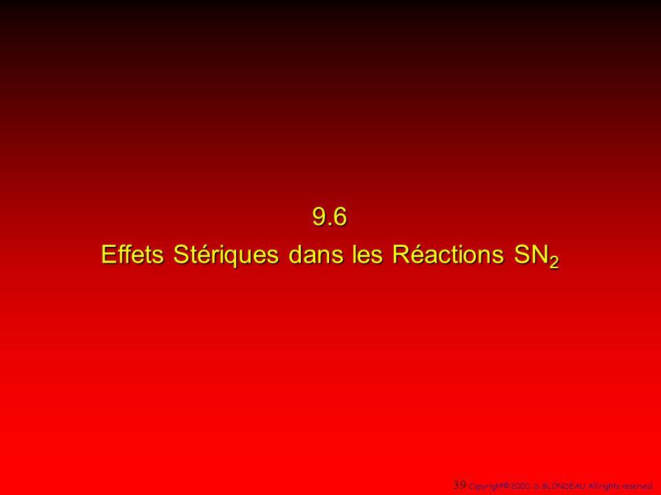 9.6 Effets Stériques dans les Réactions SN2