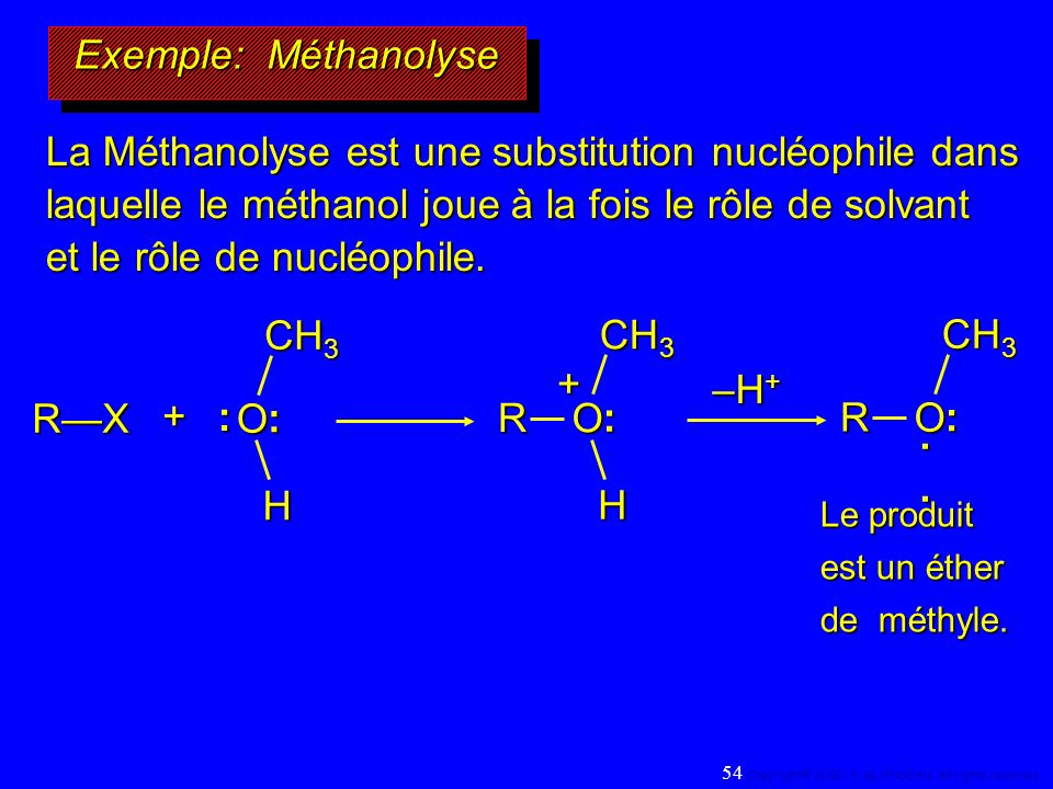 La Méthanolyse est une substitution nucléophile dans