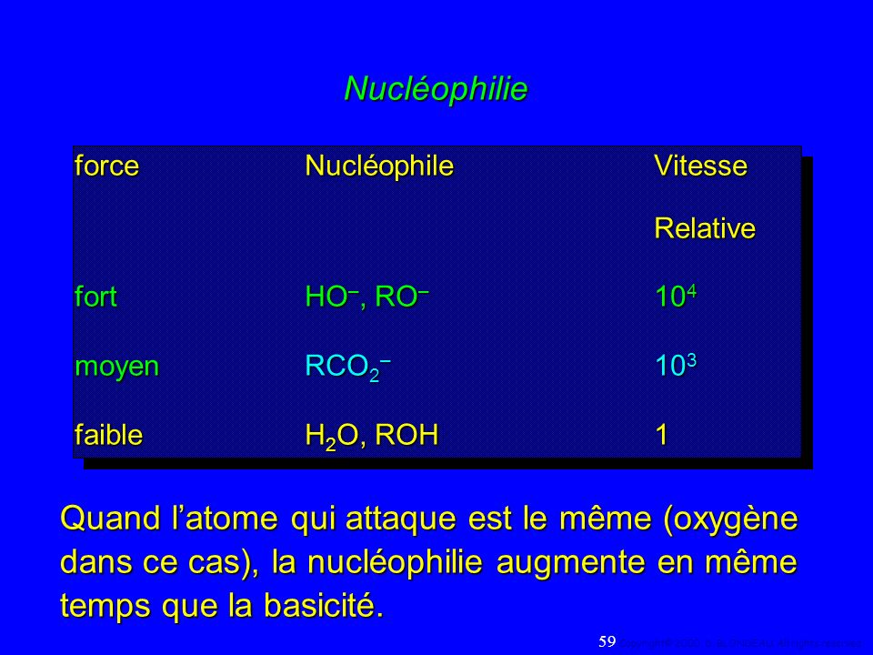 Nucléophilie force Nucléophile Vitesse. Relative. fort HO–, RO– 104. moyen RCO2– 103. faible H2O, ROH 1.