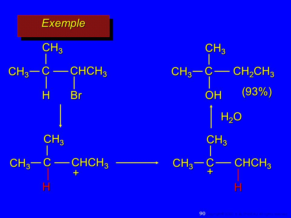 Exemple CH3 CH3 CH3 C CHCH3 CH3 C CH2CH3 (93%) H Br OH H2O CH3 CH3 CH3