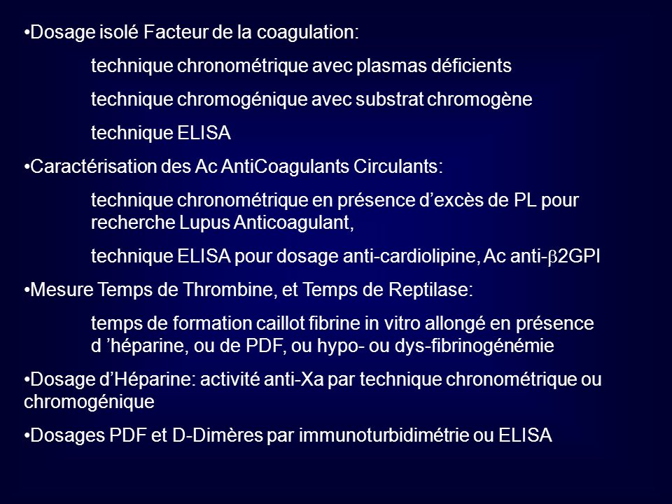 Dosage isolé Facteur de la coagulation: