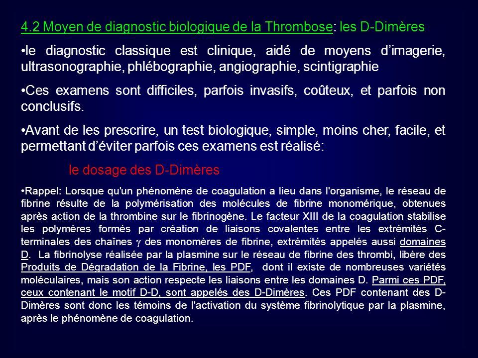 4.2 Moyen de diagnostic biologique de la Thrombose: les D-Dimères