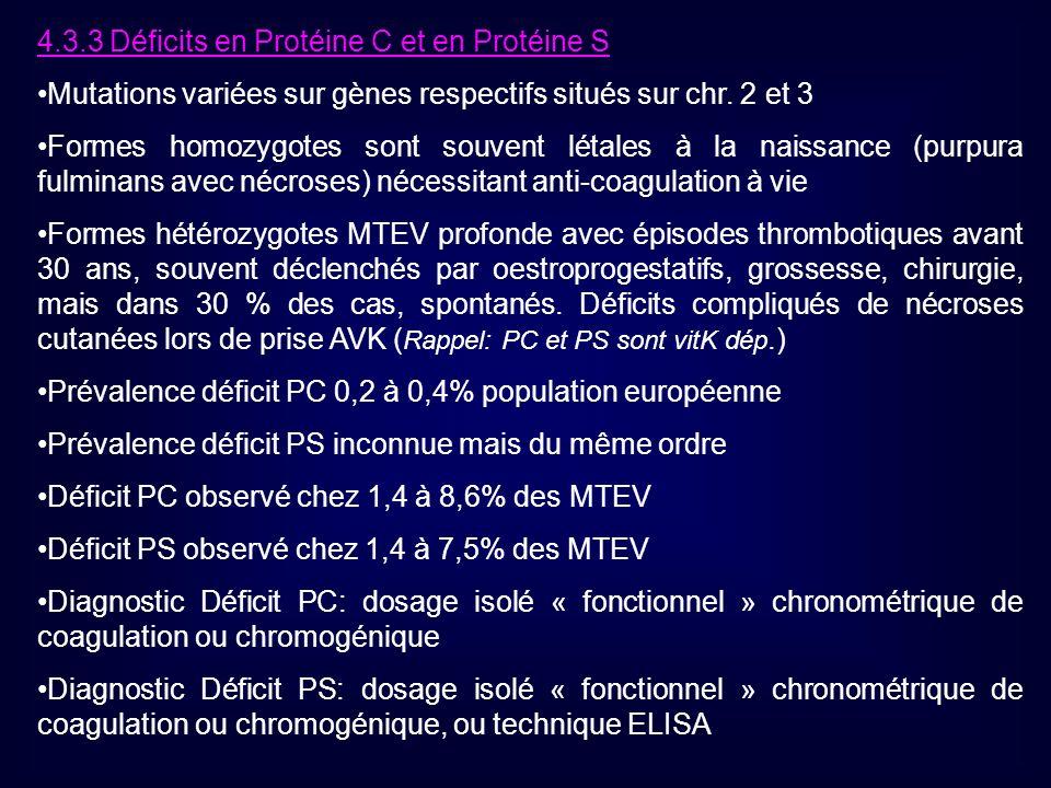 4.3.3 Déficits en Protéine C et en Protéine S