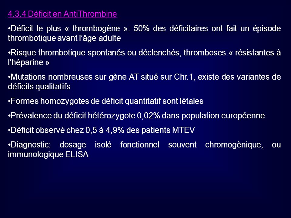 4.3.4 Déficit en AntiThrombine