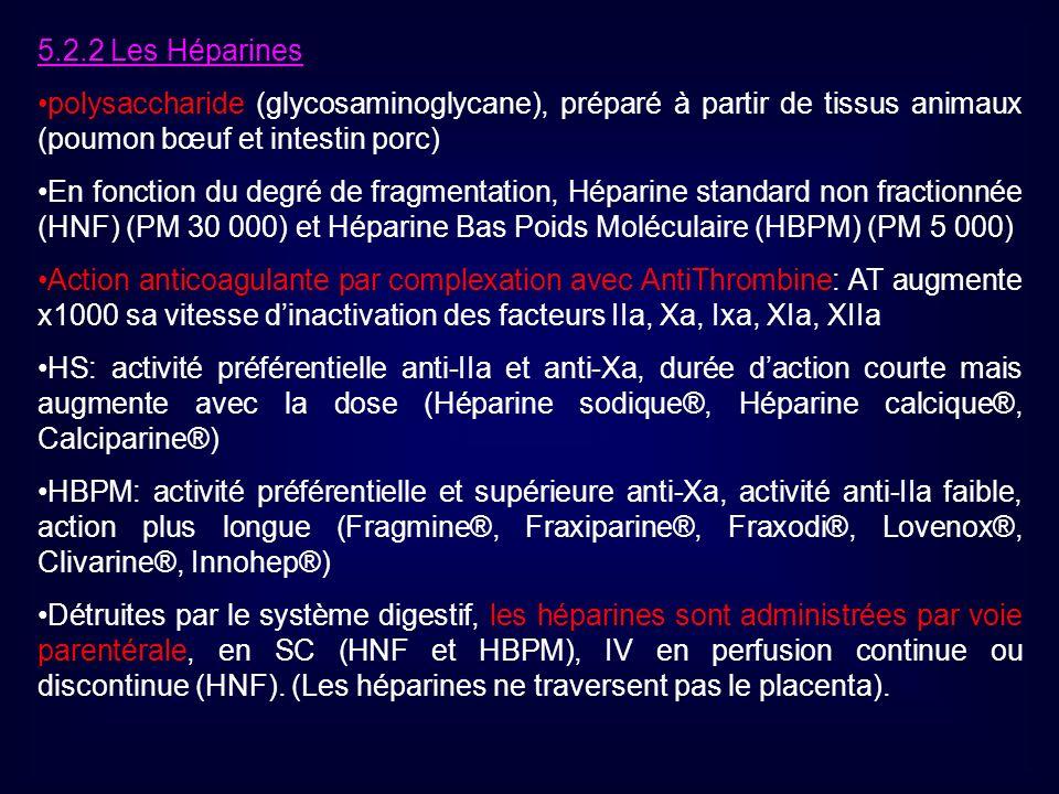 5.2.2 Les Héparines polysaccharide (glycosaminoglycane), préparé à partir de tissus animaux (poumon bœuf et intestin porc)