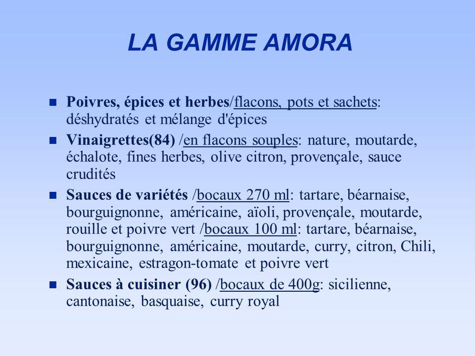 LA GAMME AMORA Poivres, épices et herbes/flacons, pots et sachets: déshydratés et mélange d épices.