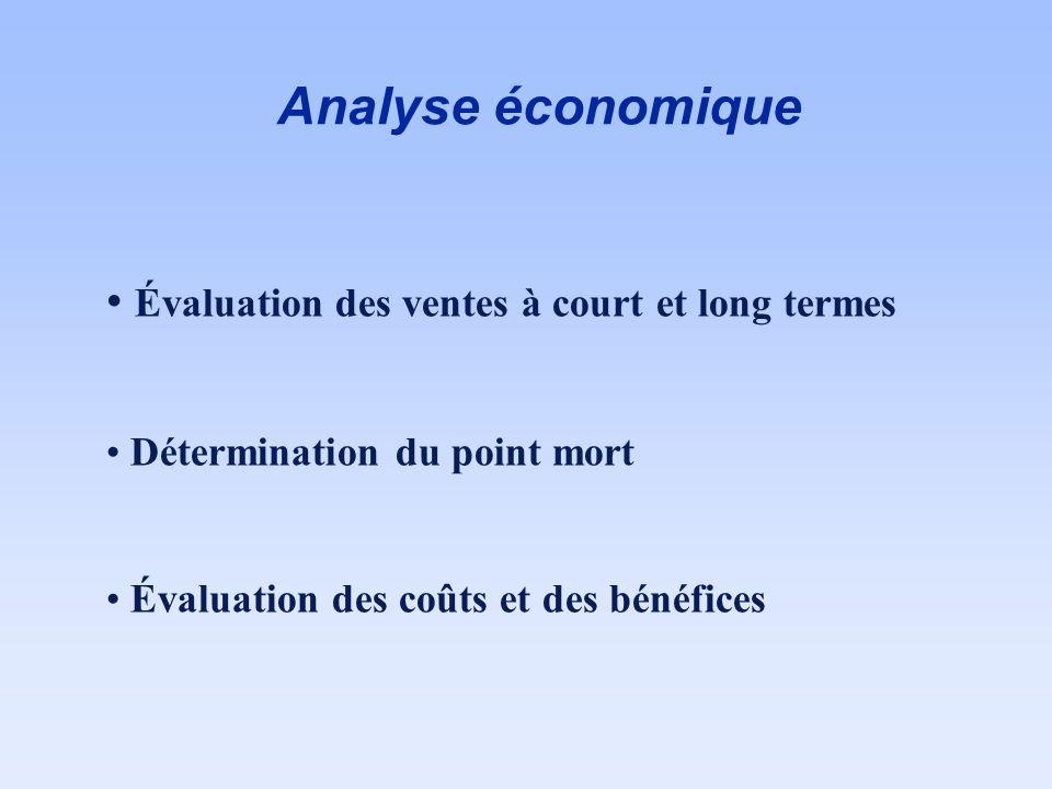 Analyse économique Évaluation des ventes à court et long termes