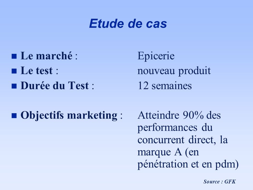 Etude de cas Le marché : Epicerie Le test : nouveau produit