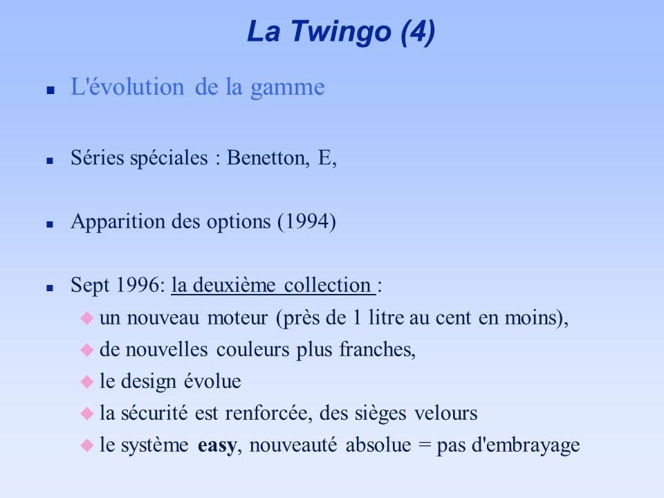 La Twingo (4) L évolution de la gamme Séries spéciales : Benetton, E,