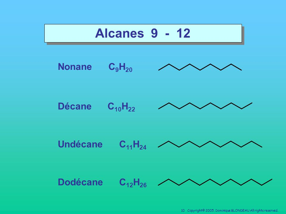 Alcanes 9 - 12 Nonane C9H20 Décane C10H22 Undécane C11H24