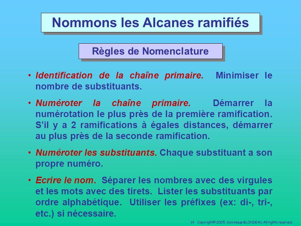 Nommons les Alcanes ramifiés Règles de Nomenclature