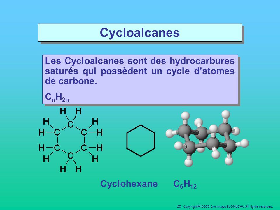 Cycloalcanes Les Cycloalcanes sont des hydrocarbures saturés qui possèdent un cycle d'atomes de carbone.