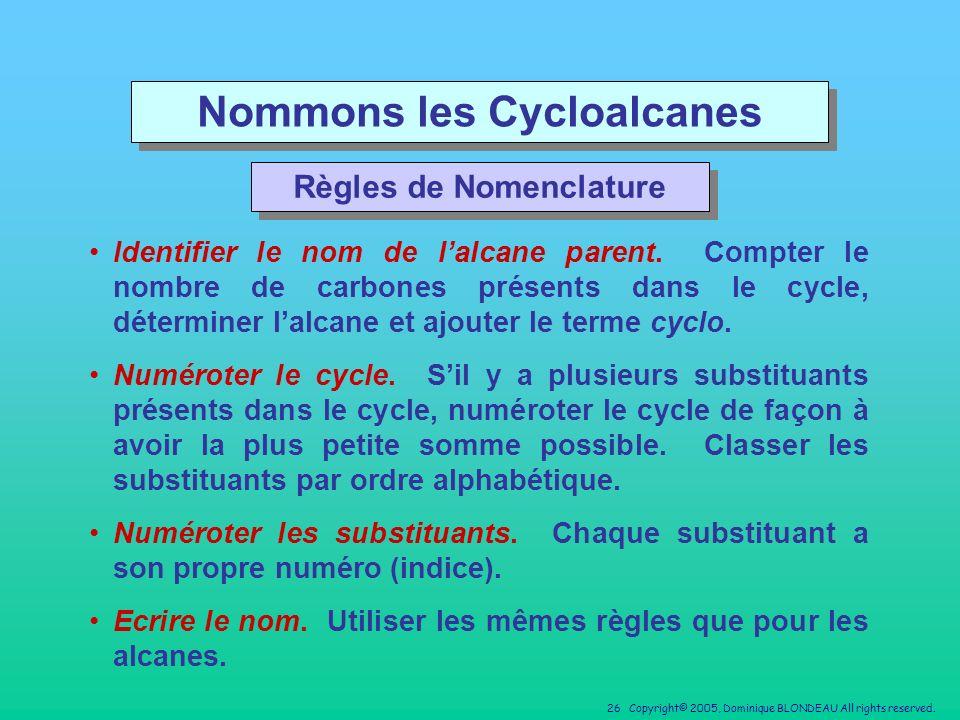 Nommons les Cycloalcanes Règles de Nomenclature