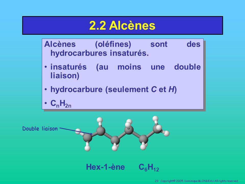 2.2 Alcènes Alcènes (oléfines) sont des hydrocarbures insaturés.
