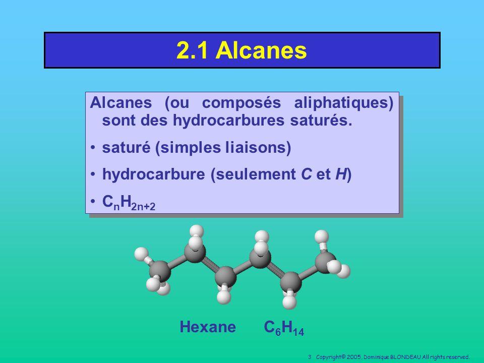 2.1 Alcanes Alcanes (ou composés aliphatiques) sont des hydrocarbures saturés. saturé (simples liaisons)