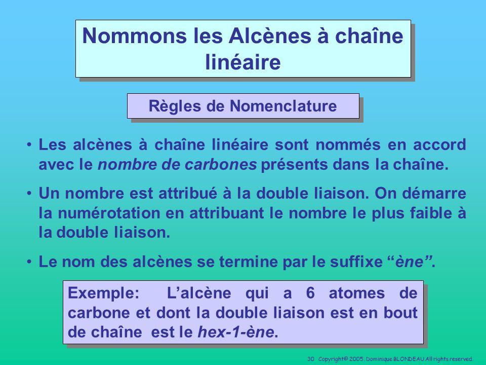 Nommons les Alcènes à chaîne linéaire Règles de Nomenclature