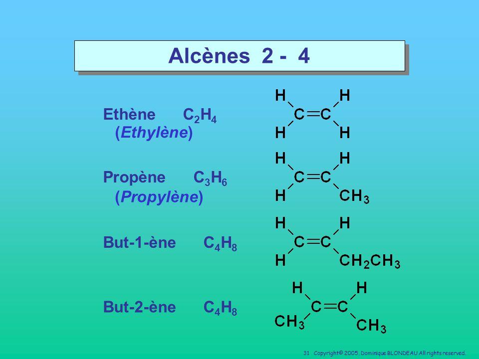 Alcènes 2 - 4 Ethène C2H4 (Ethylène) Propène C3H6 (Propylène)