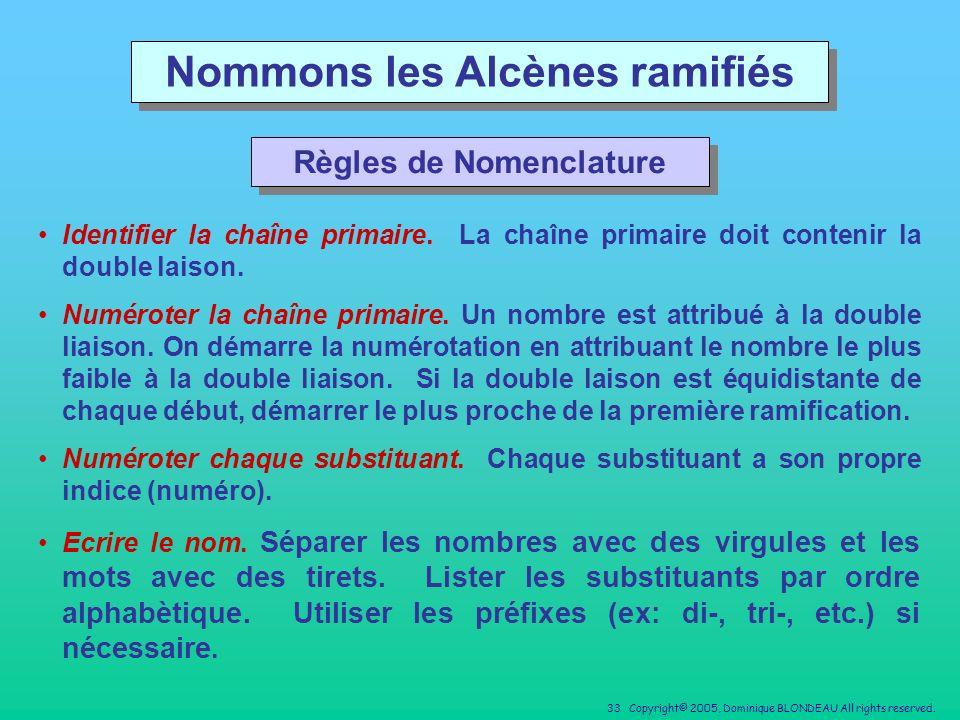 Nommons les Alcènes ramifiés Règles de Nomenclature