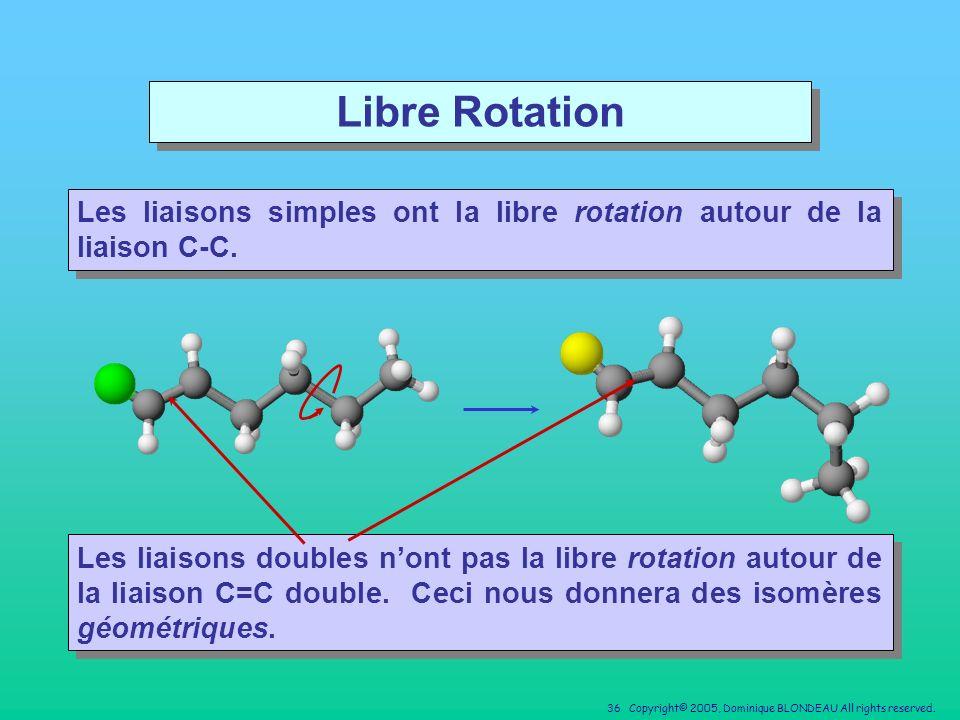 Libre Rotation Les liaisons simples ont la libre rotation autour de la liaison C-C.