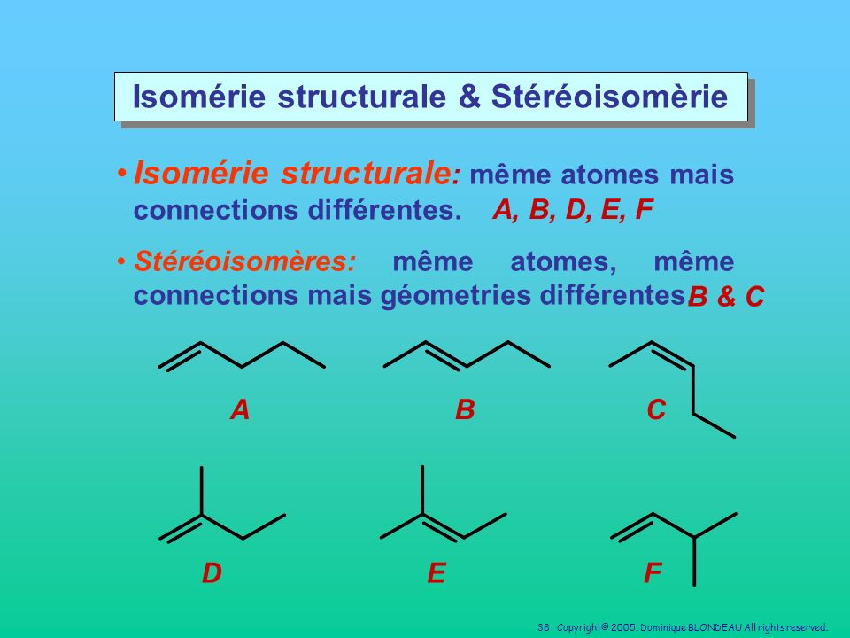 Isomérie structurale & Stéréoisomèrie