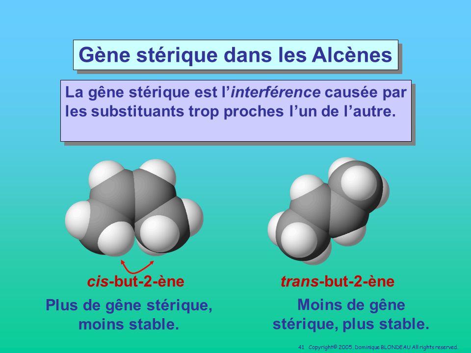 Gène stérique dans les Alcènes