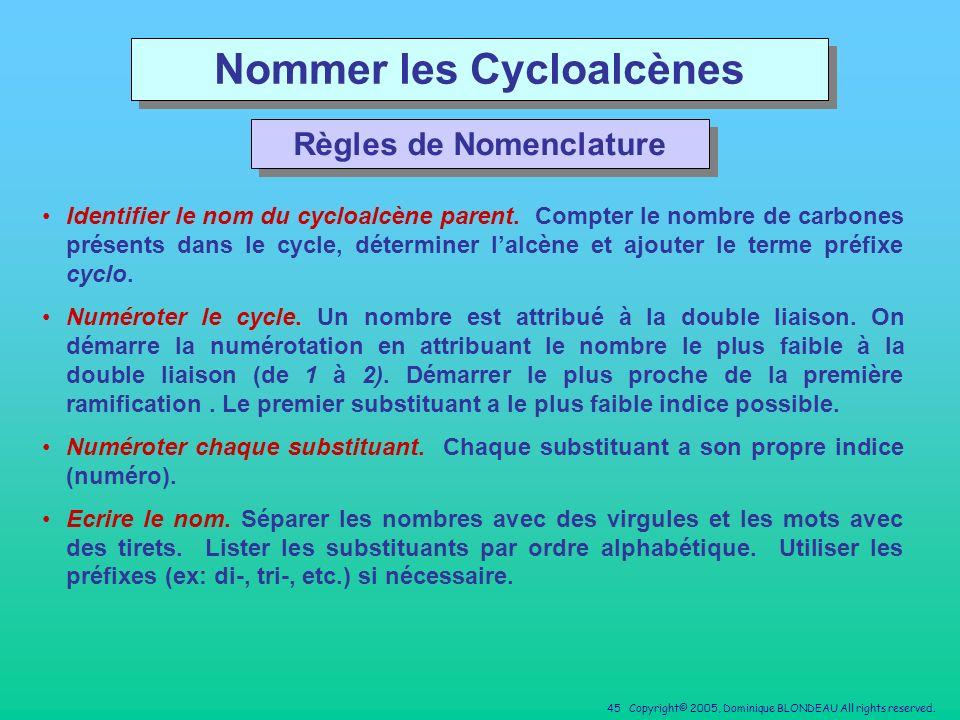 Nommer les Cycloalcènes Règles de Nomenclature