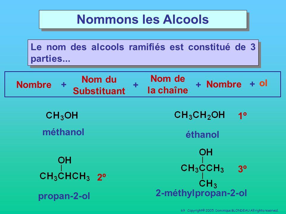 Nommons les Alcools Le nom des alcools ramifiés est constitué de 3 parties... Nom du Substituant. Nom de la chaîne.