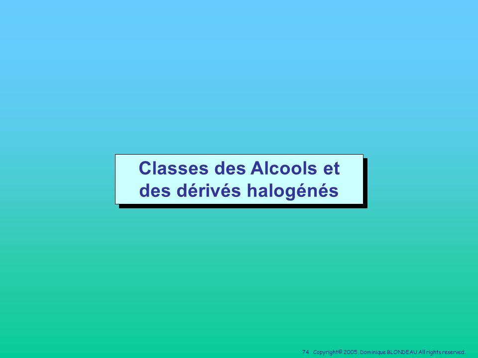 Classes des Alcools et des dérivés halogénés