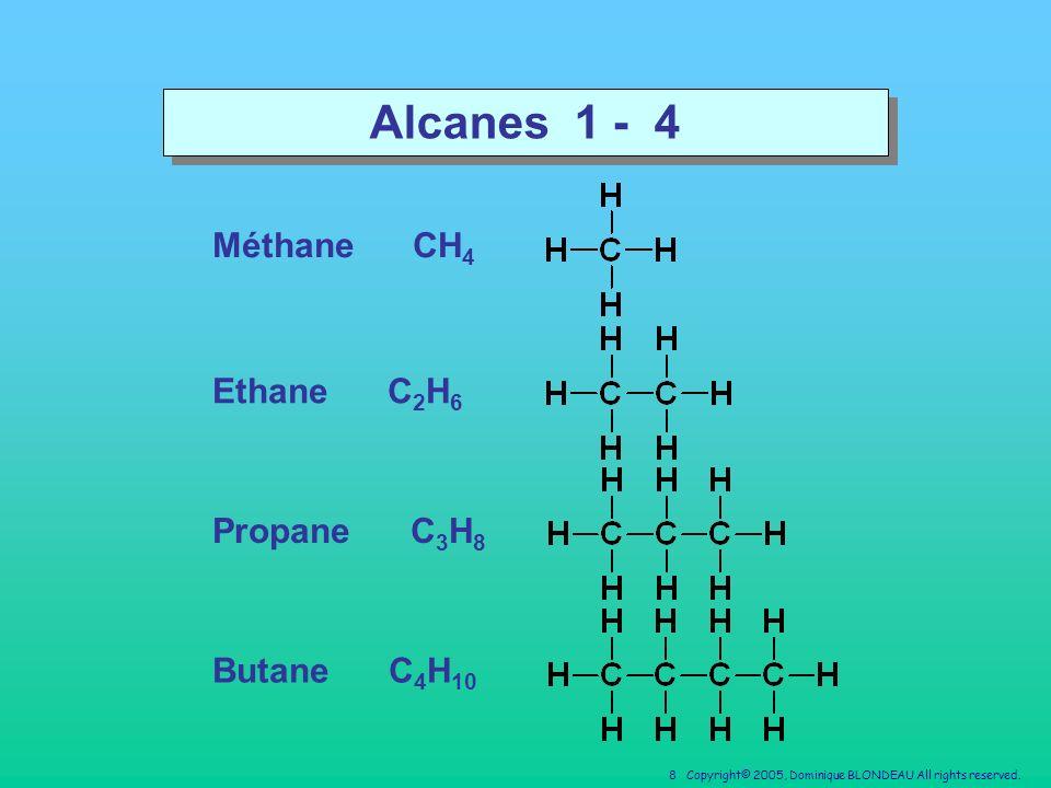 Alcanes 1 - 4 Méthane CH4 Ethane C2H6 Propane C3H8 Butane C4H10