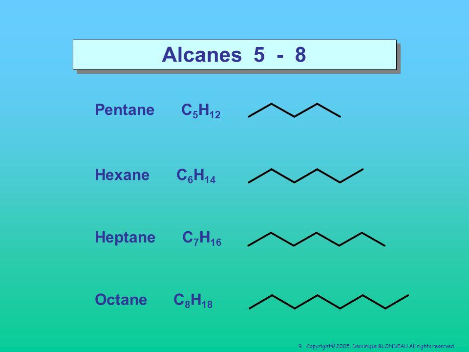 Alcanes 5 - 8 Pentane C5H12 Hexane C6H14 Heptane C7H16 Octane C8H18