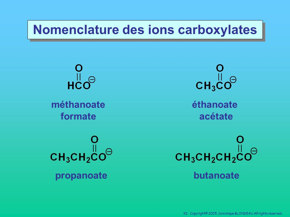 Nomenclature des ions carboxylates