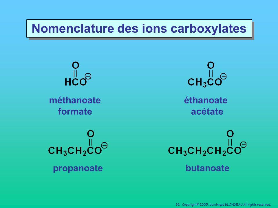 Nomenclature des ions carboxylates