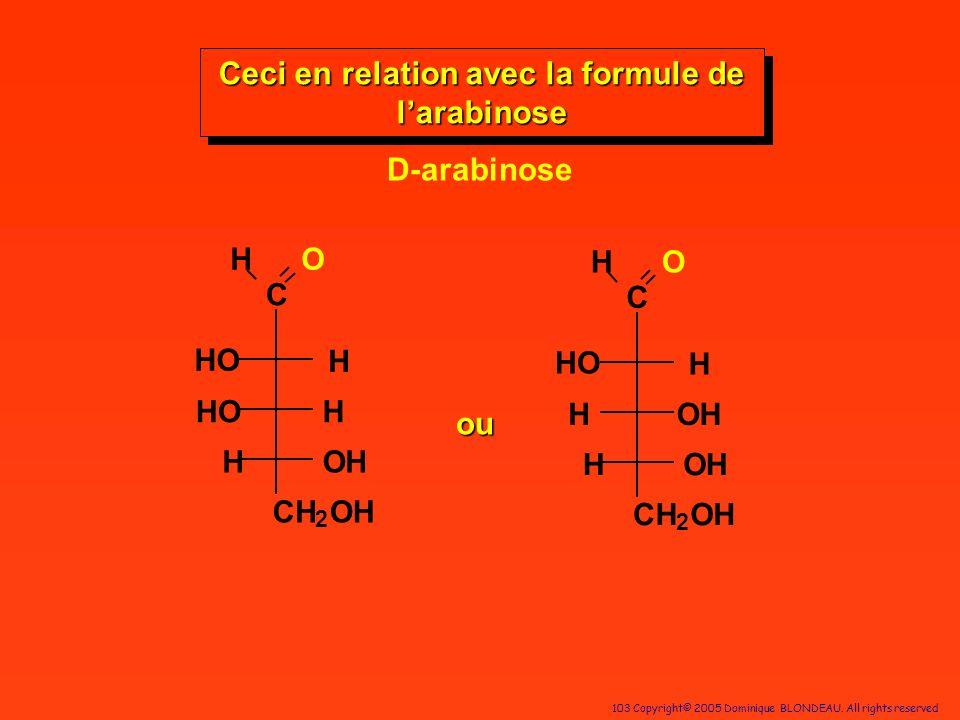 Ceci en relation avec la formule de l'arabinose