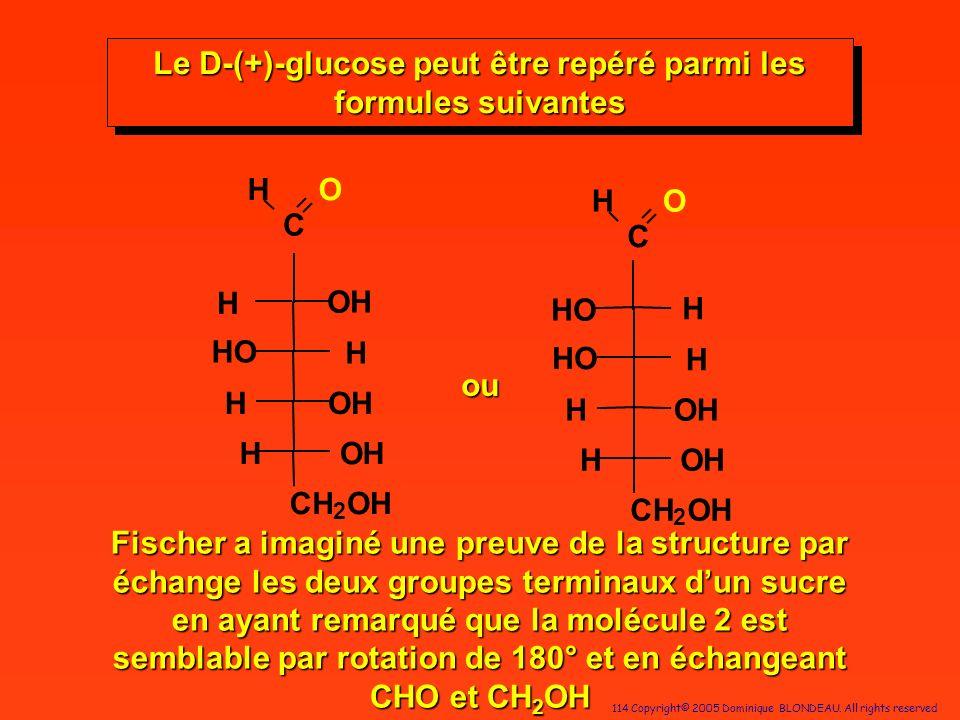 Le D-(+)-glucose peut être repéré parmi les formules suivantes