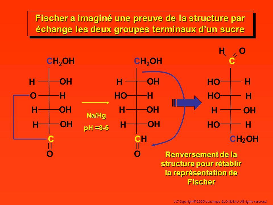 Fischer a imaginé une preuve de la structure par échange les deux groupes terminaux d'un sucre