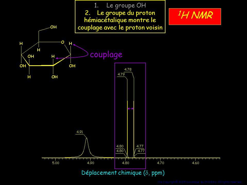 1H NMR couplage Le groupe OH Le groupe du proton