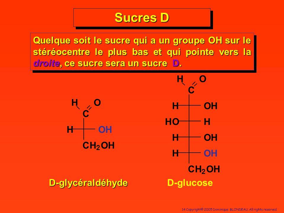 Sucres D Quelque soit le sucre qui a un groupe OH sur le stéréocentre le plus bas et qui pointe vers la droite, ce sucre sera un sucre D.