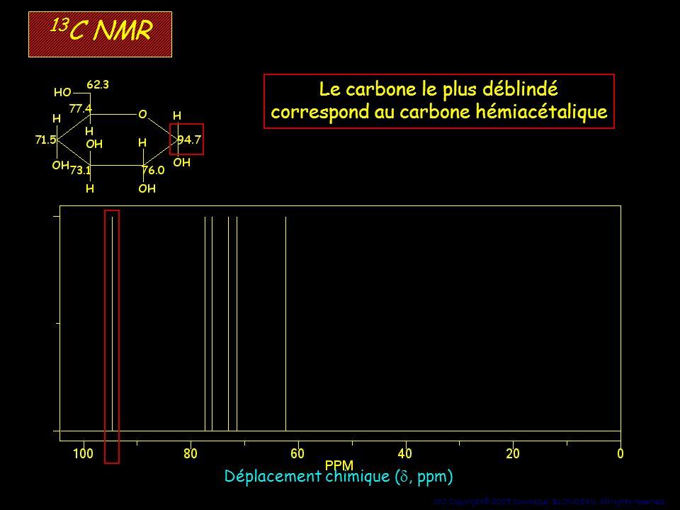 13C NMR Le carbone le plus déblindé