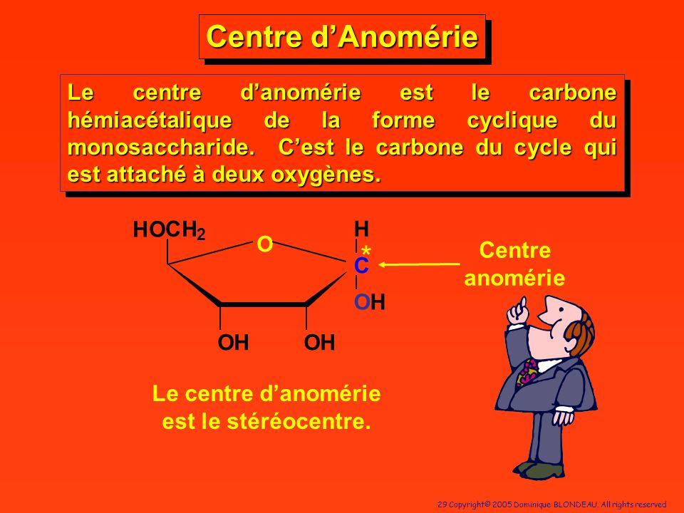 Le centre d'anomérie est le stéréocentre.