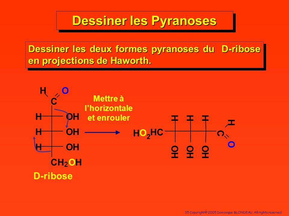 Dessiner les Pyranoses Mettre à l'horizontale et enrouler