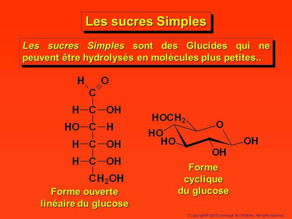 Forme cyclique du glucose Forme ouverte linéaire du glucose